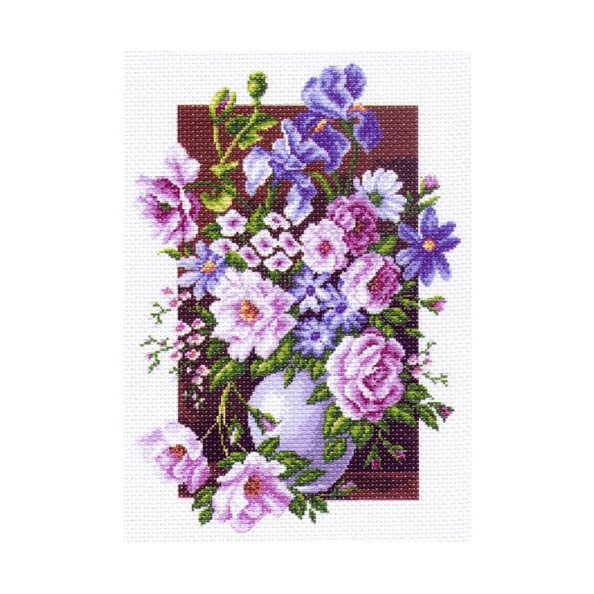 Канва с рисунком Матренин Посад Букет цветов, 37 х 49 см. 1225549894Рисунок полностью напечатан на канве. Указана цветовая карта ниток. Вышивать рекомендуется мулине в 3 сложения.
