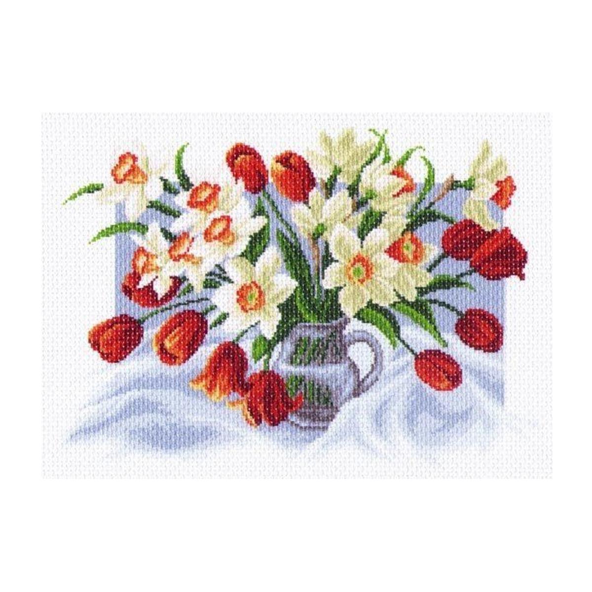 Канва с рисунком Матренин Посад Весенние цветы, 33 см х 45 см. 1226549895Размер: 33x45 см Рисунок полностью напечатан на канве. Указана цветовая карта ниток. Вышивать рекомендуется мулине в 3 сложения.
