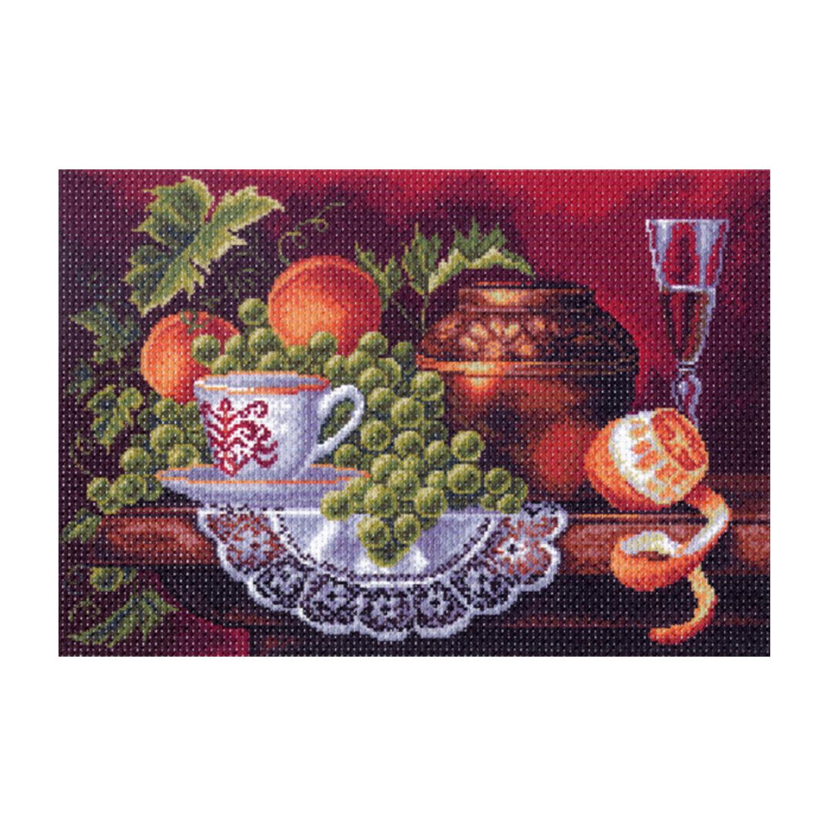 Канва с рисунком Матренин Посад Фруктовый пир, 33 см х 45 см. 1353549917Размер: 33x45 см Рисунок полностью напечатан на канве. Указана цветовая карта ниток. Вышивать рекомендуется мулине в 3 сложения.