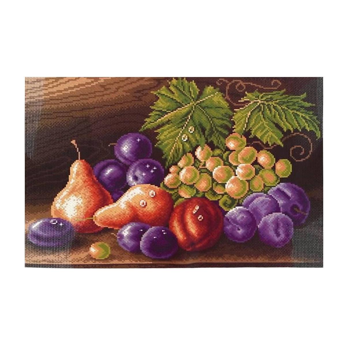 Канва с рисунком Матренин Посад Фруктовая композиция, 33 см х 45 см. 1414549932Размер: 33x45 см Рисунок полностью напечатан на канве. Указана цветовая карта ниток. Вышивать рекомендуется мулине в 3 сложения.