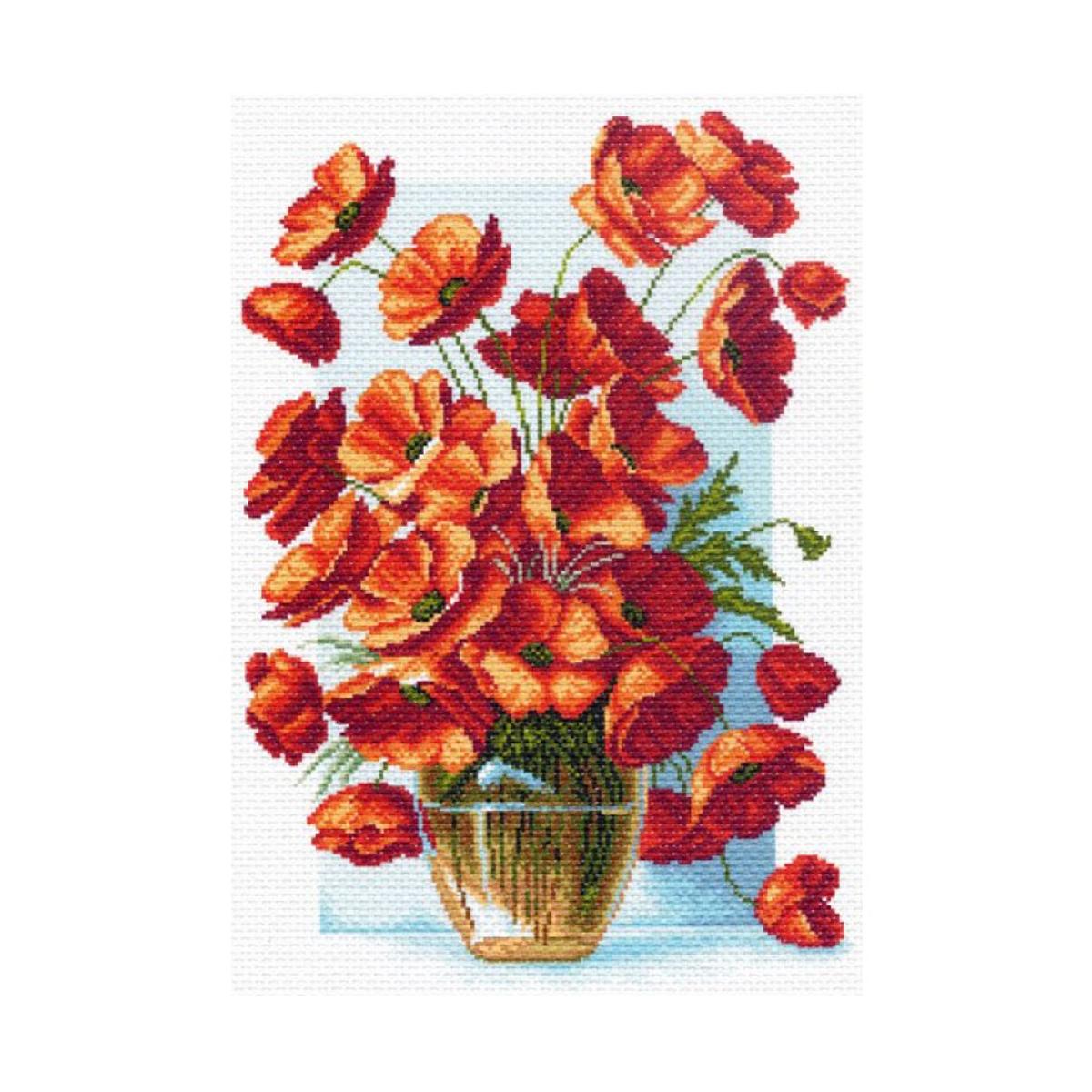 Канва с рисунком Матренин Посад Ваза с маками, 33 см х 45 см. 1439549938Размер: 33x45 см Рисунок полностью напечатан на канве. Указана цветовая карта ниток. Вышивать рекомендуется мулине в 3 сложения.