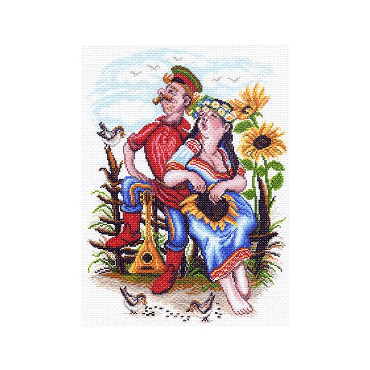 Канва с рисунком Матренин Посад Двое на околице, 33 см х 45 см. 1551549971Размер: 33x45 см Рисунок полностью напечатан на канве. Указана цветовая карта ниток. Вышивать рекомендуется мулине в 3 сложения.