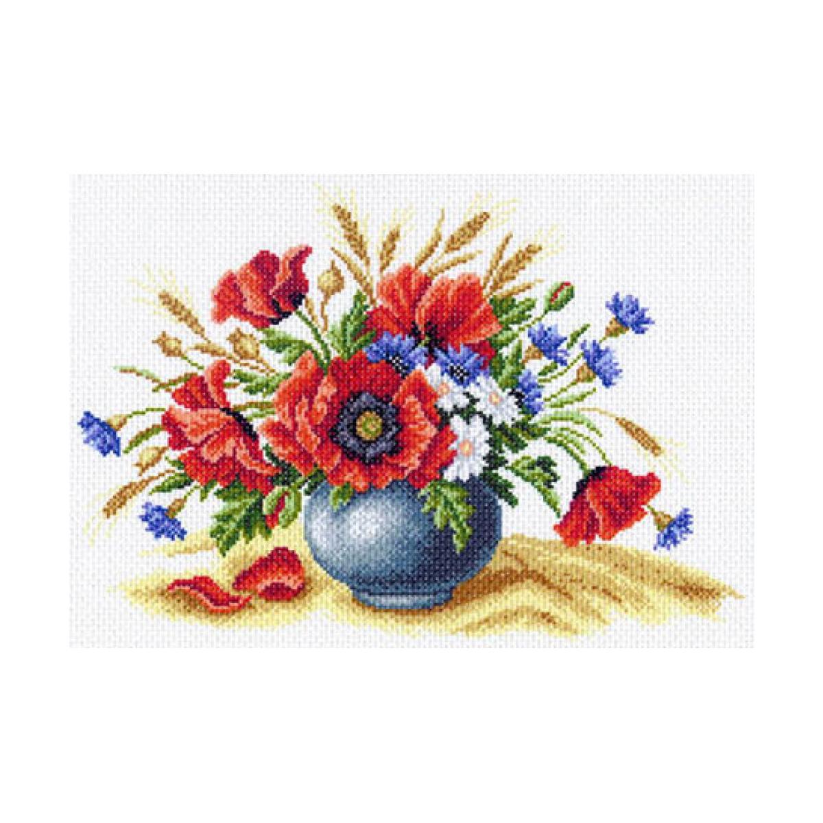 Канва с рисунком Матренин Посад Полевое соцветие, 33 см х 45 см. 1560549975Размер: 33x45 см Рисунок полностью напечатан на канве. Указана цветовая карта ниток. Вышивать рекомендуется мулине в 3 сложения.