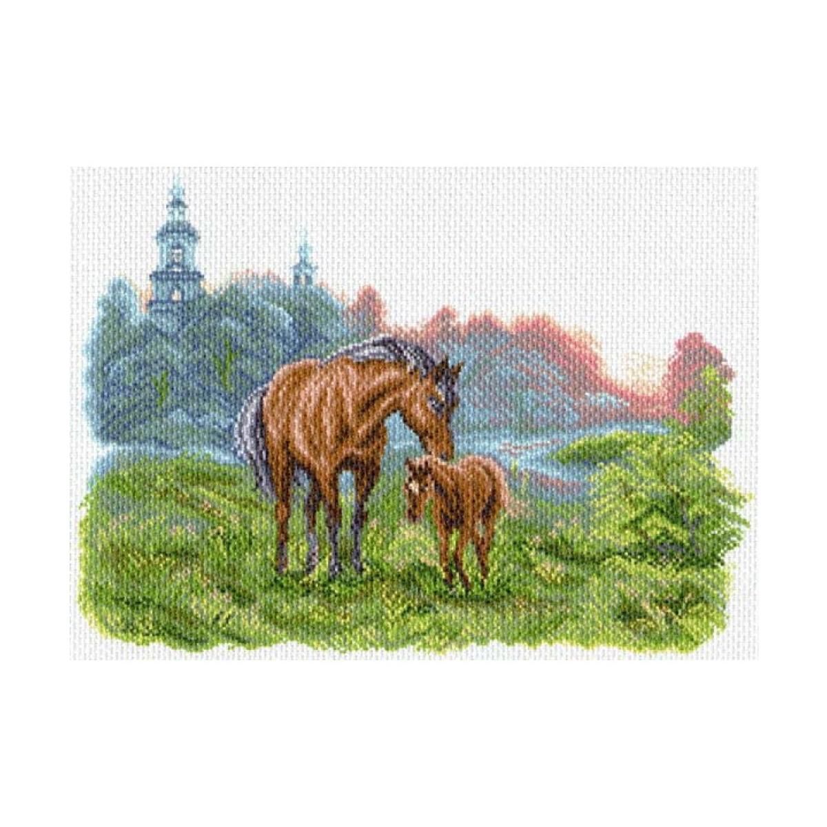 Канва с рисунком Матренин Посад На лугу на зорьке, 33 см х 45 см. 1623549981Размер: 33x45 см Рисунок полностью напечатан на канве. Указана цветовая карта ниток. Вышивать рекомендуется мулине в 3 сложения.