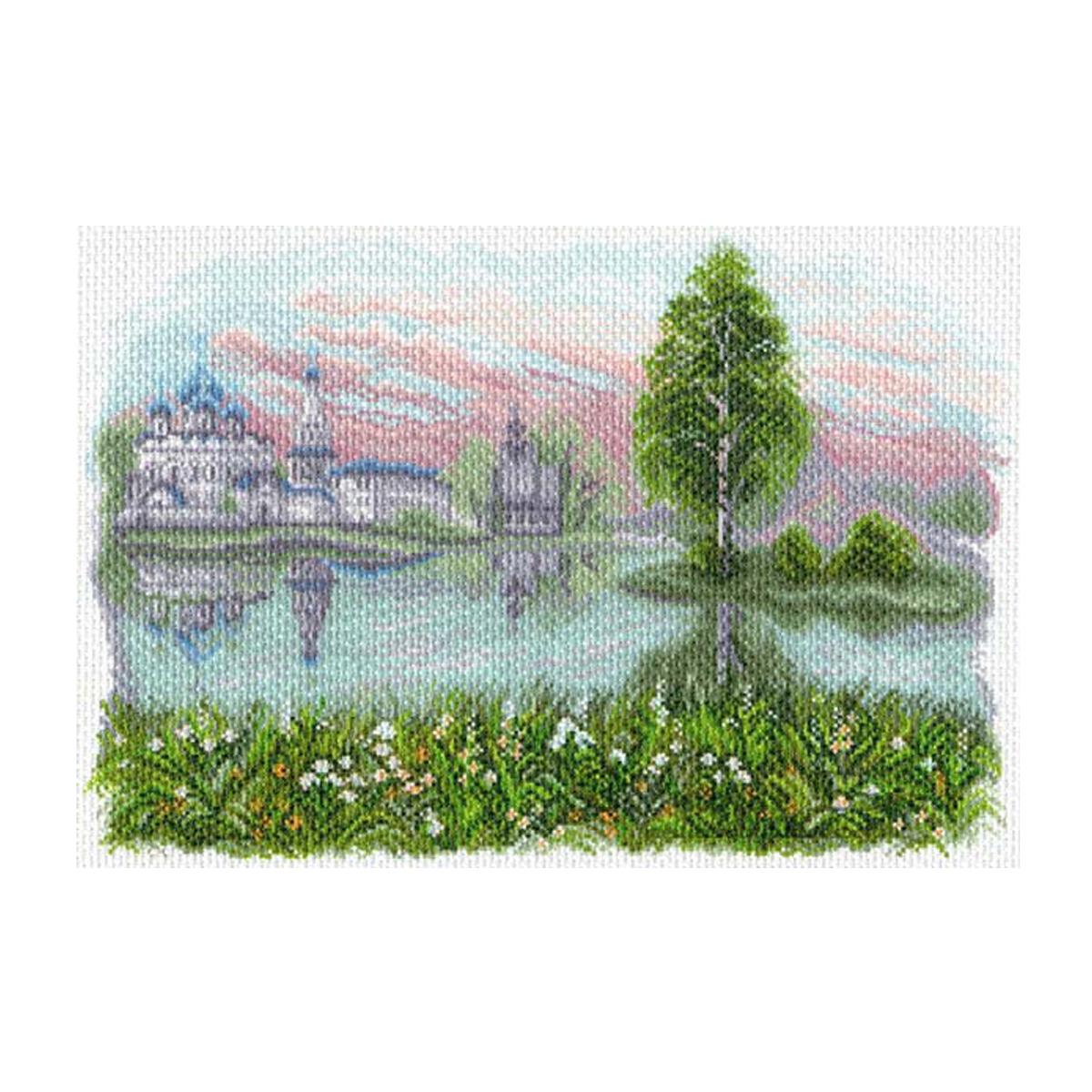 Канва с рисунком Матренин Посад Волжские просторы, 33 см х 45 см. 1624549982Размер: 33x45 см Рисунок полностью напечатан на канве. Указана цветовая карта ниток. Вышивать рекомендуется мулине в 3 сложения.