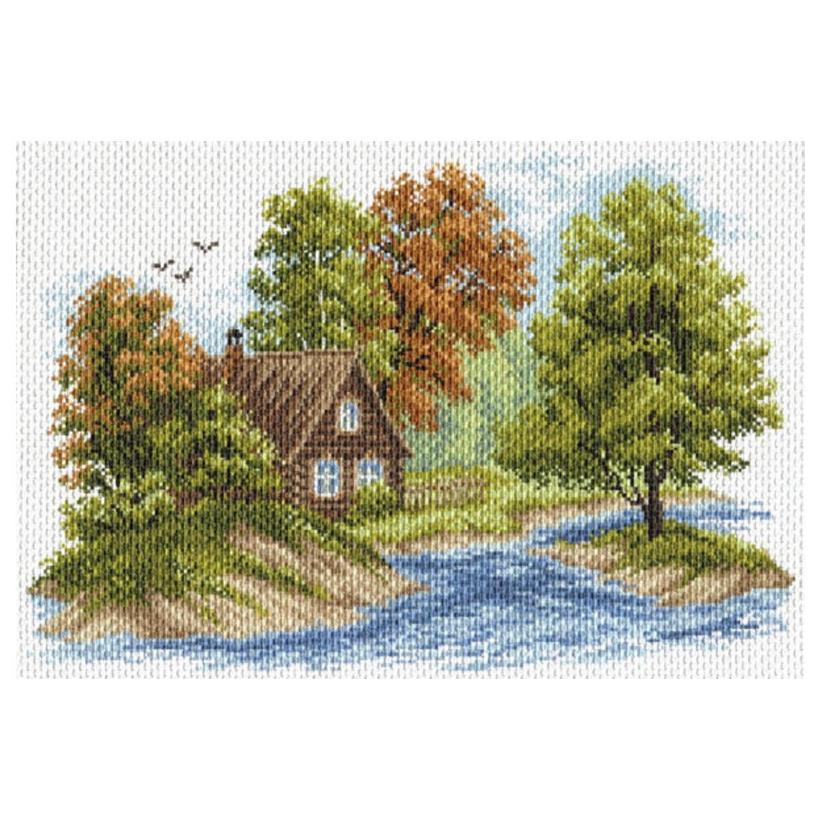 Канва с рисунком Матренин Посад Пейзаж с домиком, 33 см х 45 см. 1653549987Размер: 33x45 см Рисунок полностью напечатан на канве. Указана цветовая карта ниток. Вышивать рекомендуется мулине в 3 сложения.