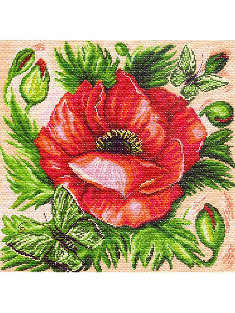 Канва с рисунком Матренин Посад Мак, 41 см х 41 см. 1214551130Размер: 41x41 см Рисунок полностью напечатан на канве. Указана цветовая карта ниток. Вышивать рекомендуется мулине в 3 сложения.