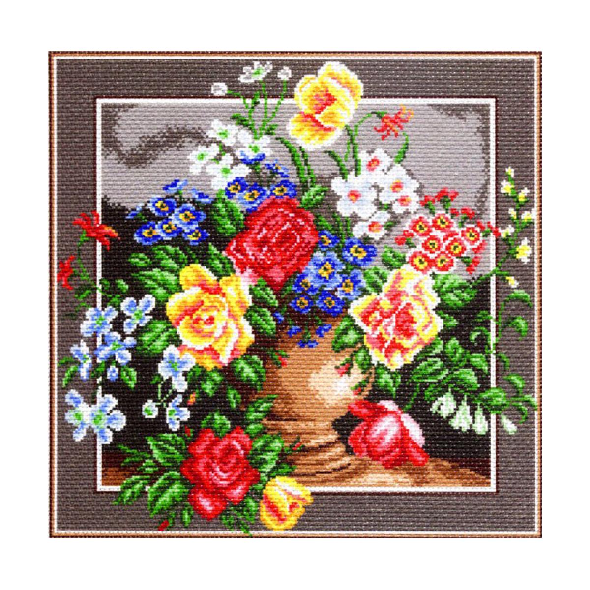 Канва с рисунком Матренин Посад Цветное изобилие, 41 см х 41 см. 1271551149Размер: 41x41 см Рисунок полностью напечатан на канве. Указана цветовая карта ниток. Вышивать рекомендуется мулине в 3 сложения.