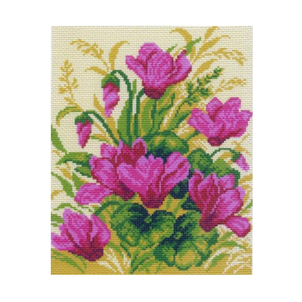 Канва с рисунком Матренин Посад Цикламен, 24 см х 30 см. 770551286Размер: 24x30 см Рисунок полностью напечатан на канве. Указана цветовая карта ниток. Вышивать рекомендуется мулине в 3 сложения.