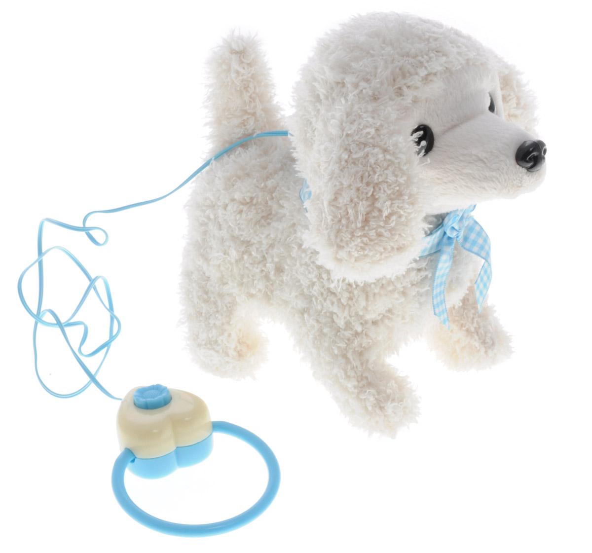 Sonata Style Мягкая озвученная игрушка Моя собачка на пульте управления цвет белый 15 смGT5931_белыйМягкая озвученная игрушка Sonata Style Моя собачка развлечет вашего ребенка и станет для него любимой игрушкой. Игрушка выполнена в виде симпатичного щенка белого цвета. Забавный щенок выглядит совсем как настоящий. На шее у него повязан клетчатый бантик. В комплект с игрушкой входит пульт управления, выполненный в виде поводка. Собачка ходит вперед, останавливается, лает и шевелит хвостиком. Щенок поднимет настроение вашему малышу и подарит массу положительных эмоций. Рекомендуется докупить 2 батарейки напряжением 1,5V типа АA (товар комплектуется демонстрационными).