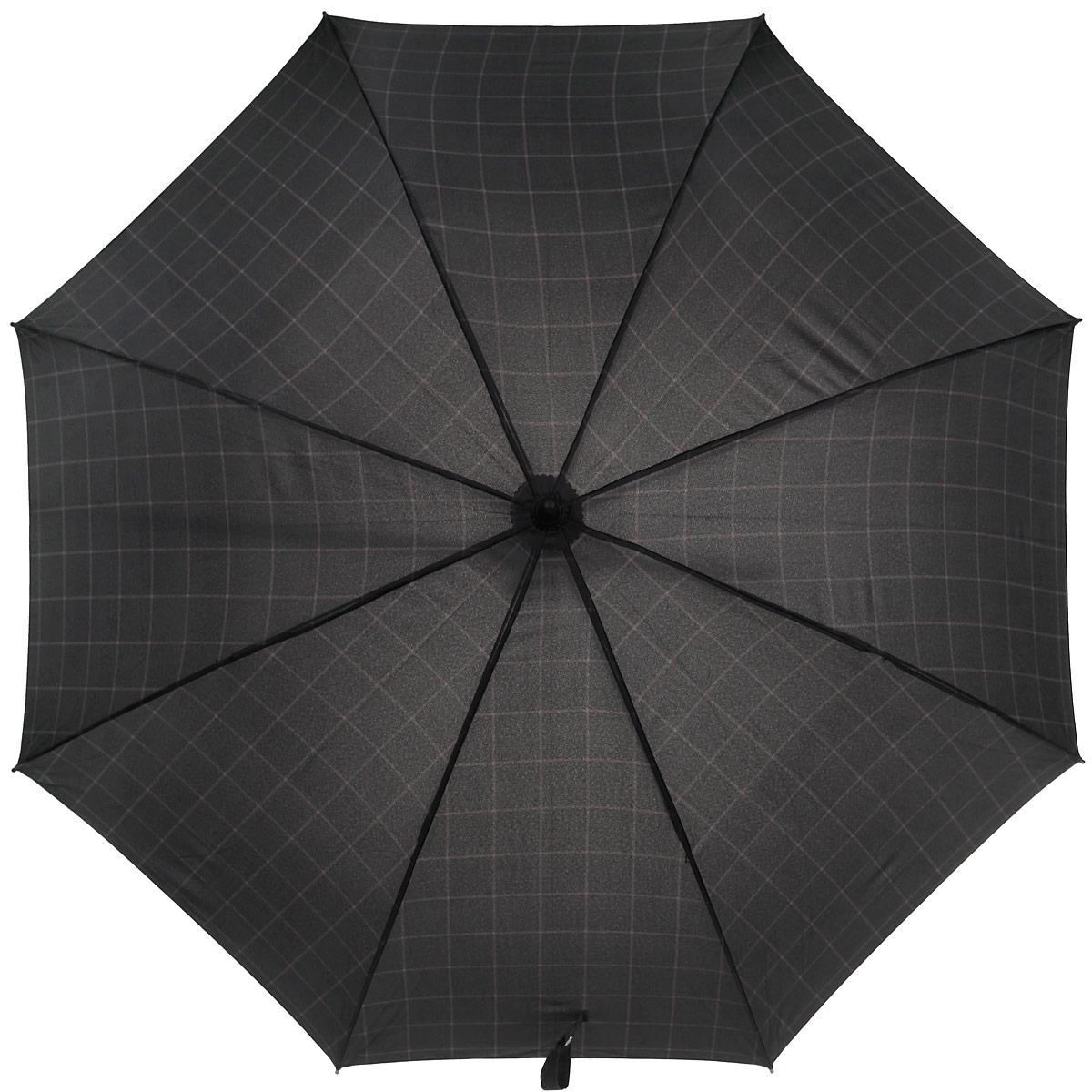 Зонт-трость мужской Eleganzza, полуавтомат, цвет: черный. T-03-F1574T-03-F1574Классический мужской зонт-трость Eleganzza выполнен в черном цвете и дополнен клетчатым принтом. Каркас зонта изготовлен из карбона и фибергласса, содержит восемь спиц, а также дополнен эргономичной рукояткой из пластика, которая дополнена искусственной кожей. Купол выполнен из полиэстера с водоотталкивающей пропиткой. Зонт имеет полуавтоматический механизм сложения: купол открывается нажатием кнопки на рукоятке, стержень и купол складываются вручную до характерного щелчка, благодаря чему открыть зонт можно одной рукой, что чрезвычайно удобно при выходе из транспорта или помещения. К зонту прилагается чехол.