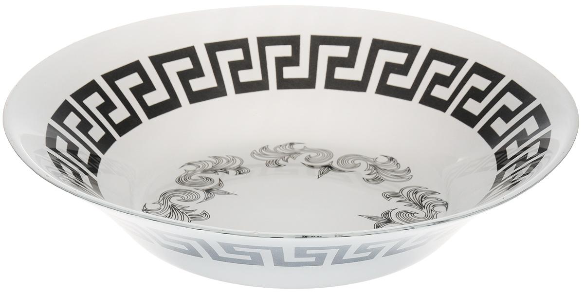 Тарелка глубокая Гусь-Хрустальный Греческий узор, диаметр 22 смP-335Глубокая тарелка Гусь-Хрустальный Греческий узор изготовлена из высококачественного натрий-кальций-силикатного стекла. Изделие выполнено в белом цвете и оформлено красивым черным орнаментом. Она прекрасно впишется в интерьер вашей кухни и станет достойным дополнением к кухонному инвентарю. Тарелка Гусь-Хрустальный Греческий узор подчеркнет прекрасный вкус хозяйки и станет отличным подарком. Диаметр тарелки: 22 см. Высота тарелки: 5 см.