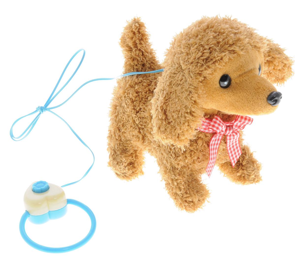 Sonata Style Мягкая озвученная игрушка Моя собачка на пульте управления цвет коричневый 16 смGT5931_коричневыйМягкая озвученная игрушка Sonata Style Моя собачка развлечет вашего ребенка и станет для него любимой игрушкой. Игрушка выполнена в виде симпатичного щенка коричневого цвета. Очаровательный щенок выглядит совсем как настоящий. На шее у него красуется бантик. В комплект с игрушкой входит пульт управления, выполненный в виде поводка. Собачка умеет ходить, садиться, шевелить хвостиком и лаять. Щенок поднимет настроение вашему малышу и подарит массу положительных эмоций. Рекомендуется докупить 2 батарейки напряжением 1,5V типа АA (товар комплектуется демонстрационными).