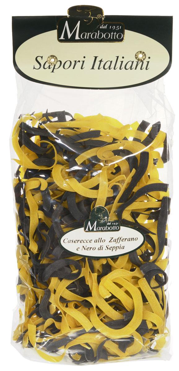 Marabotto Паста домашняя с шафраном и чернилами моллюска макароны, 250 г8000253000279В состав макарон Marabotto. Sapori Italiani включены популярные в Италии натуральные приправы. В этом заключена их уникальность. Характерные особенности приправ воплощены в удивительных цветах, форме, аромате и вкусе макарон. Уже в процессе варки вы можете почувствовать ароматы шафрана и чернил моллюска. По вкусу, аромату и внешнему виду эти макароны невозможно перепутать ни с одним другим продуктом!
