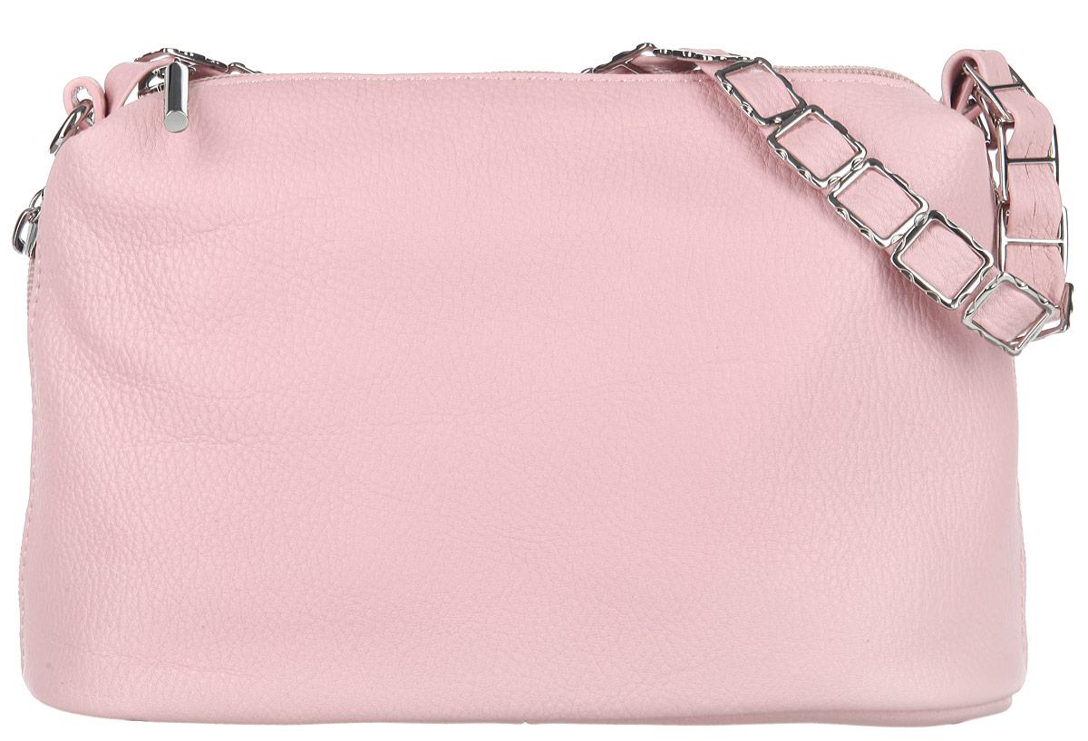 Сумка женская Palio, цвет: розовый. 29132913Стильная женская сумочка Palio выполнена из натуральной кожи с зернистой фактурой, оформлена металлической фурнитурой. Изделие имеет одно отделение и закрывается на застежку-молнию. Внутри имеется два открытых накладных кармана, вшитый карман на молнии и карман-средник на застежке-молнии. Снаружи, по бокам изделия, расположены два врезных кармана на застежках-молниях. Сумка оснащена практичной ручкой и удобным съемным плечевым ремнем регулируемой длины. Оригинальная сумка подчеркнет вашу яркую индивидуальность и сделает образ завершенным.
