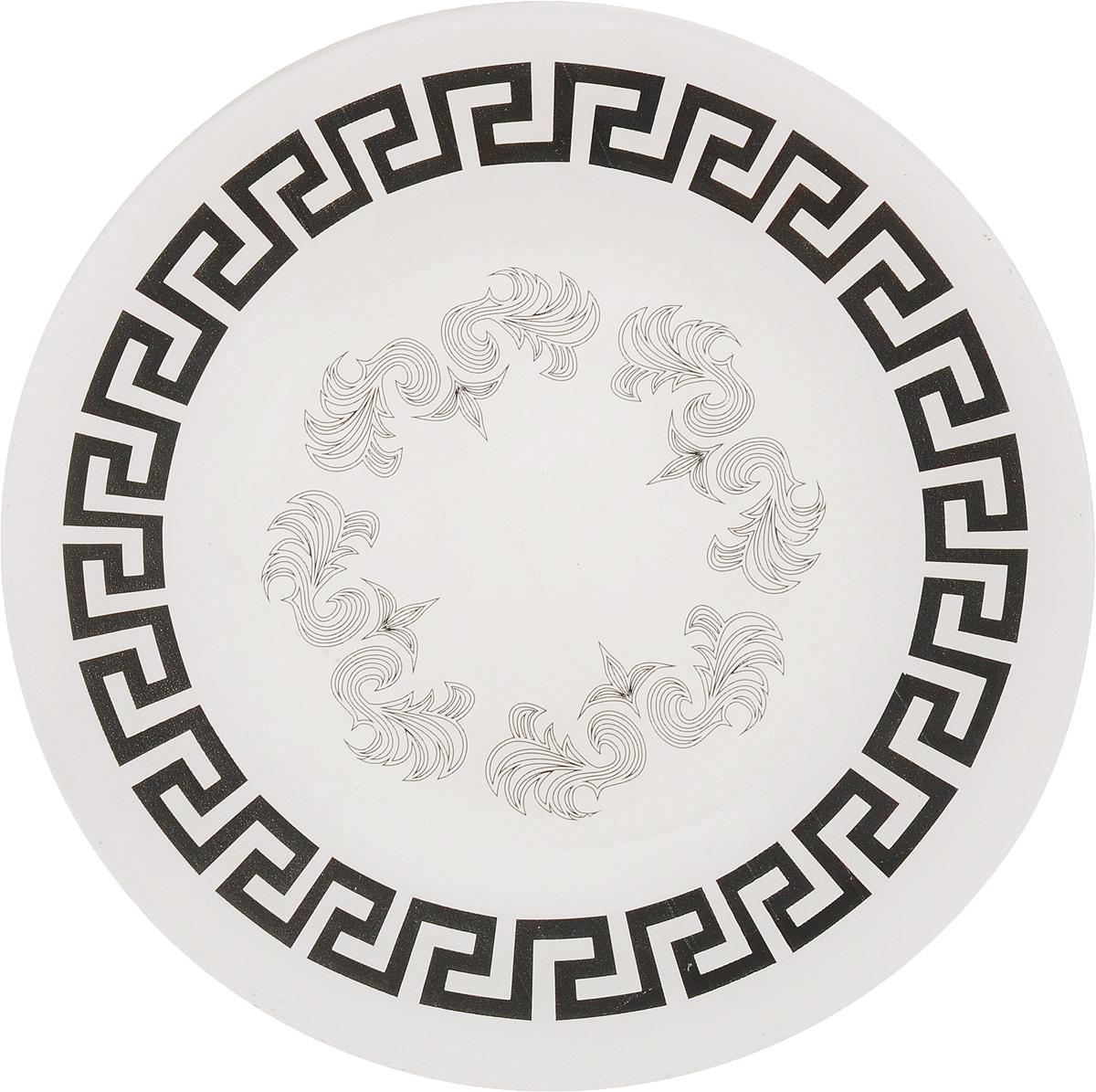 Тарелка обеденная Гусь-Хрустальный Греческий узор, диаметр 26 смP-328Глубокая тарелка Гусь-Хрустальный Греческий узор изготовлена из высококачественного натрий-кальций-силикатного стекла. Изделие выполнено в белом цвете и оформлено красивым черным орнаментом. Она прекрасно впишется в интерьер вашей кухни и станет достойным дополнением к кухонному инвентарю. Тарелка Гусь-Хрустальный Греческий узор подчеркнет прекрасный вкус хозяйки и станет отличным подарком. Диаметр тарелки: 26 см. Высота тарелки: 1,5 см.