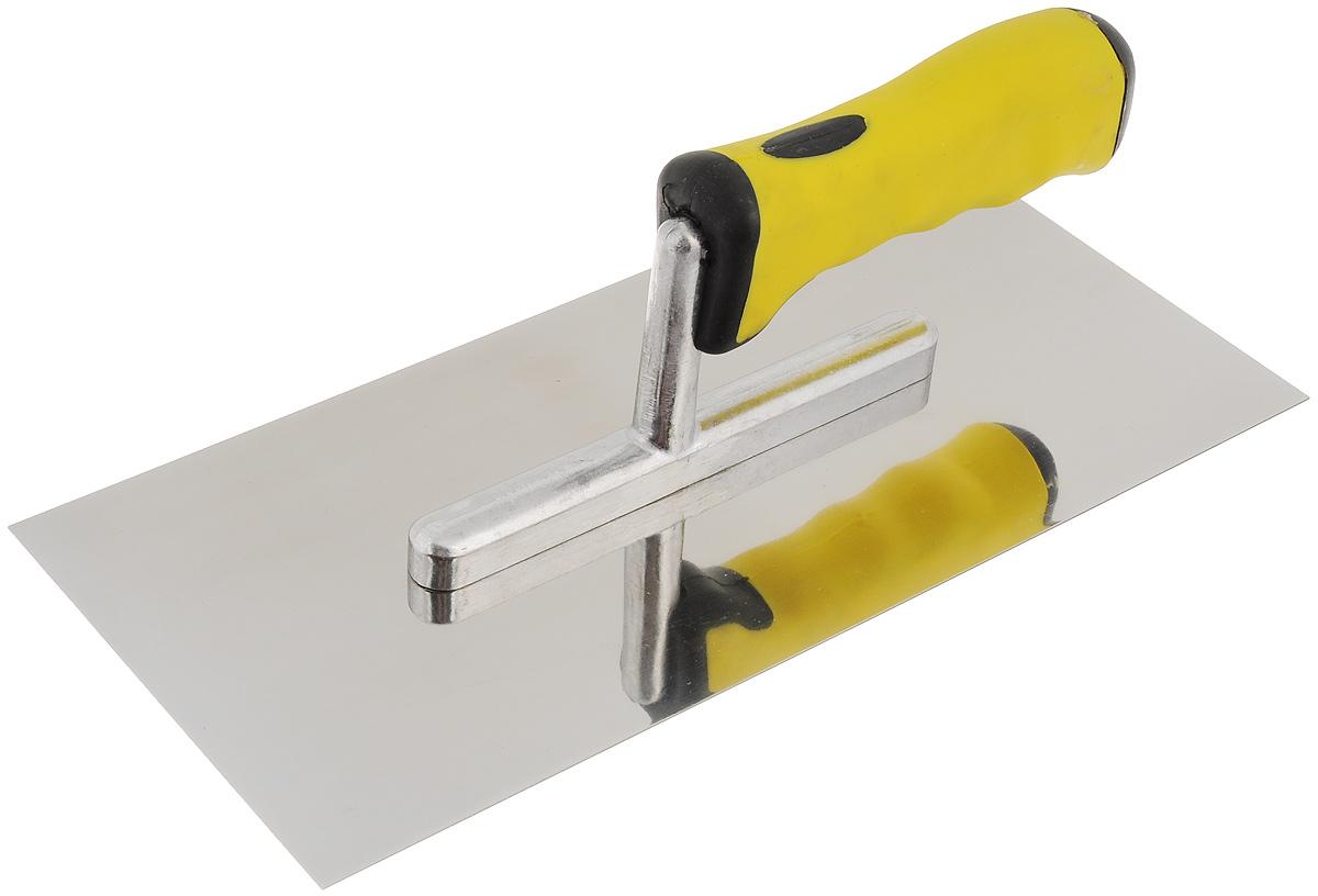 Гладилка плоская Fit, с мягкой ручкой, 280 х 130 мм5172_желтый,черныйПлоская гладилка Fit изготовлена из нержавеющей стали, снабжена пластиковой ручкой с резиновой вставкой, что делает ее более удобной. Изделие используется в штукатурно- отделочных работах для равномерного распределения растворов, смесей и клеев на большую по площади поверхность. Размеры рабочей поверхности: 28 х 13 см.