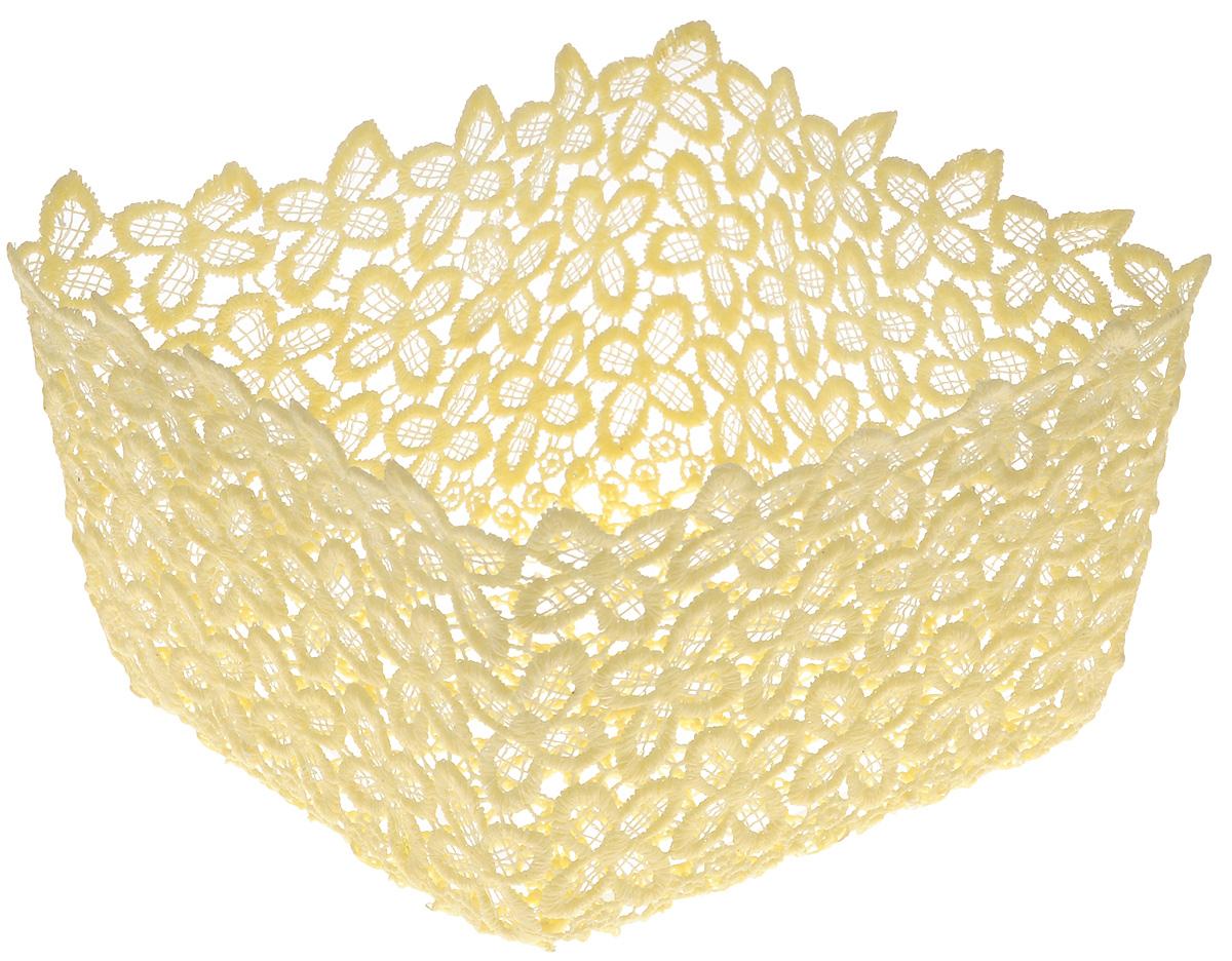 Корзина декоративная Home Queen Клевер, цвет: желтый, 17 х 17 х 9,5 см64341_2Декоративная ажурная корзина Home Queen Клевер, выполненная из полиэстера, предназначена для хранения различных мелочей и аксессуаров, также отлично подойдет для пасхальных яиц и кулича. Изделие имеет жесткую форму. Такая корзина станет оригинальным украшением интерьера к Пасхе.