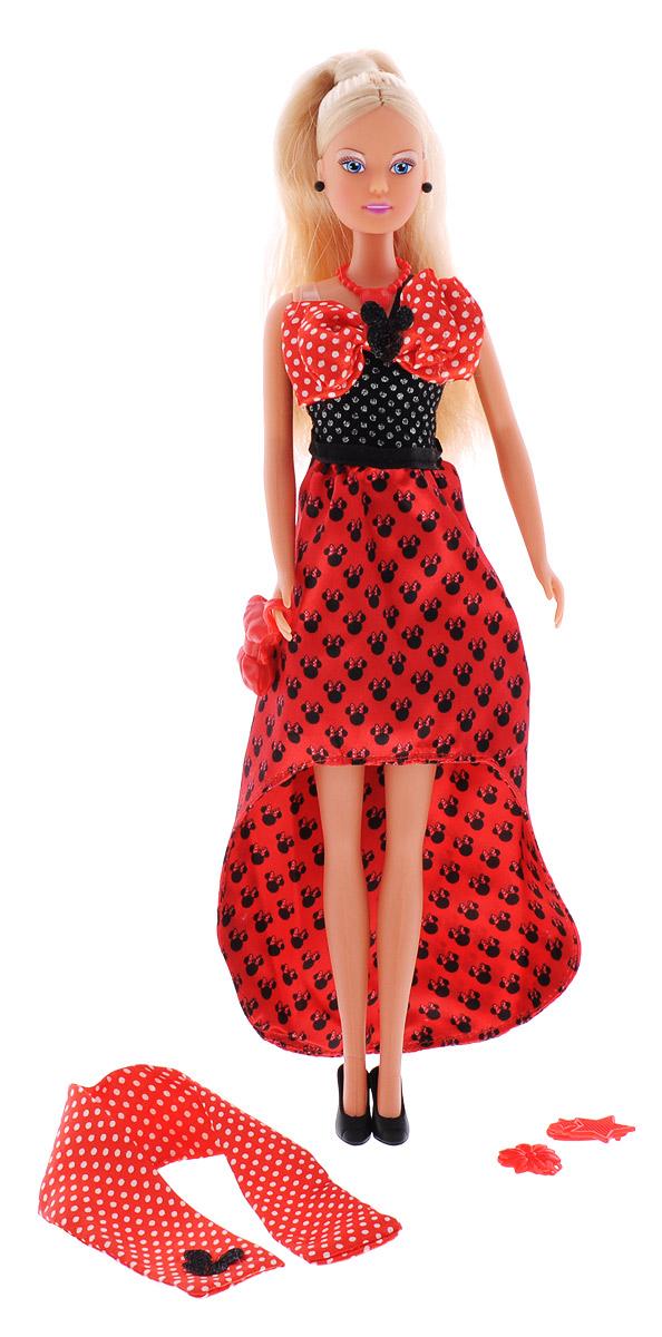 Simba Кукла Штеффи Minnie Mouse Evening Dress цвет платья красный5745874_платье красноеКукла Simba Штеффи надолго займет внимание вашей малышки и подарит ей множество счастливых мгновений. Кукла изготовлена из пластика, ее голова, ручки и ножки подвижны, что позволяет придавать ей разнообразные позы. В комплект входят 2 заколки для куклы и сумочка-клатч. Наряд Штеффи выполнен в стиле знаменитой героини Диснея Минни Маус. Куколка одета в элегантное вечернее платье, украшенное бантом. Наряд дополняют стильное красное колье и черные сережки. Чудесные длинные волосы куклы можно расчесывать и создавать из них всевозможные прически, плести косички, жгутики и хвостики. Благодаря играм с куклой, ваша малышка сможет развить фантазию и любознательность, овладеть навыками общения и научиться ответственности, а дополнительные аксессуары сделают игру еще увлекательнее. Порадуйте свою принцессу таким прекрасным подарком!