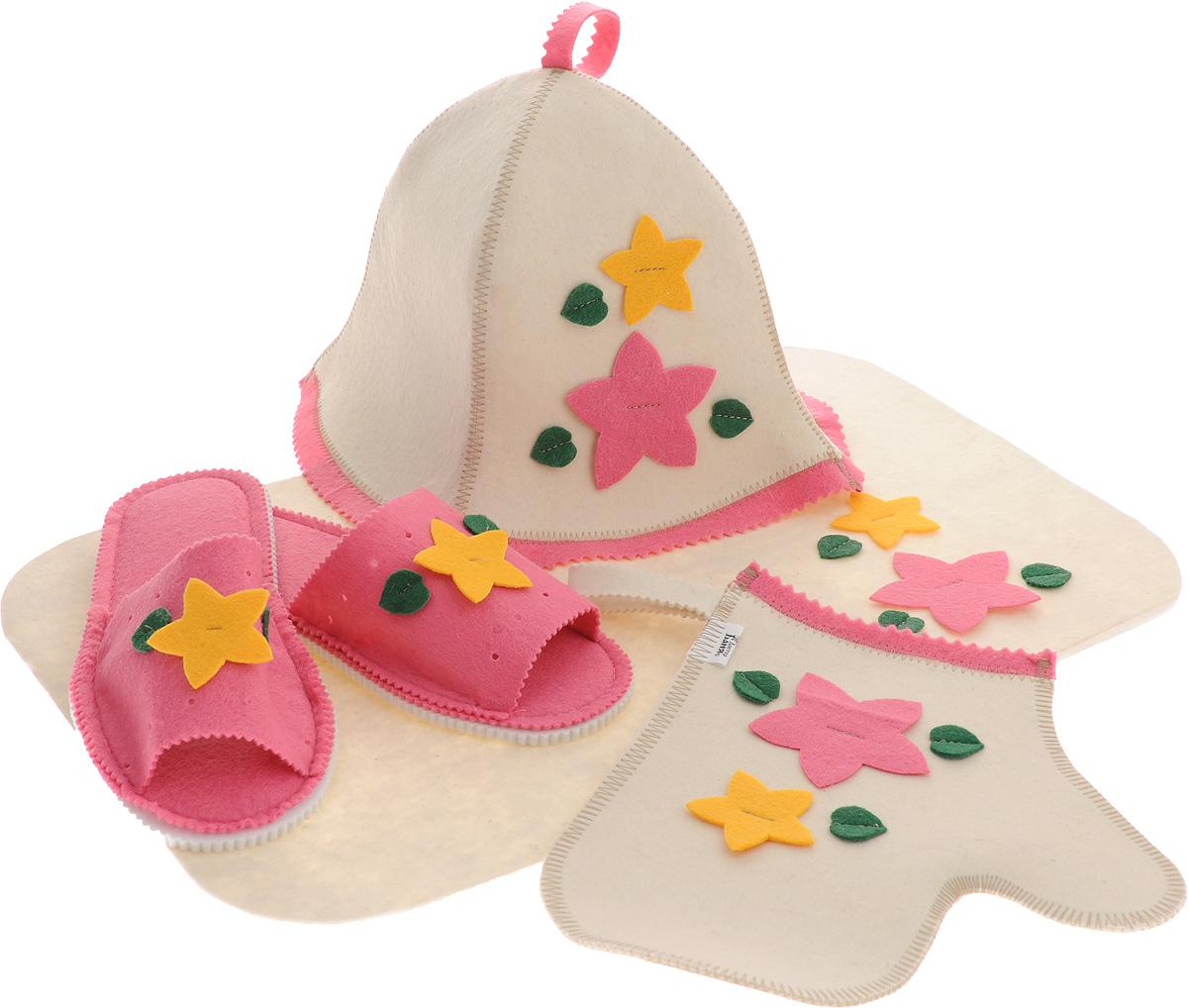 Набор для бани и сауны Доктор баня Букет, цвет: розовый, желтый, 4 предмета904710_розовые тапкиНабор для бани и сауны Доктор баня Букет, выполненный из фетра, привлечет внимание любителей модных тенденций в банной одежде. В набор входят все необходимые аксессуары, для того чтобы банный поход принес вам только радость. Набор состоит из коврика, шапки, рукавицы и тапочек. Шапка - незаменимая вещь в парной. Она необходима для того, чтобы не перегреть голову, также она должна хорошо впитывать влагу. Коврик убережет вас от горячей полки, защитит вас в общественной бане, а варежка обезопасит ваши руки от горячего пара или ручки ковша. Рукавицей можно также прекрасно помассировать тело. Тапочки сделают ваше пребывание в бане комфортным. Все предметы декорированы аппликацией в виде цветов и листьев. Диаметр основания шапки: 35 см. Высота шапки: 24 см. Размер рукавицы: 22,5 х 27 см. Размер коврика: 33 х 50 см. Длина тапок: 26 см. Наибольшая ширина тапок (по подошве): 10,5 см.