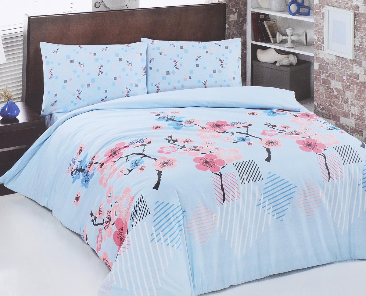 Комплект белья Brielle, 1,5-спальный, наволочка 50х70, цвет: светло-голубой, розовый (319 V3)1108Роскошный комплект постельного белья Brielle выполнен из натурального ранфорса (100% хлопка) и украшен оригинальным рисунком. Комплект состоит из пододеяльника, простыни и наволочки. Ранфорс - это новая современная гипоаллергенная ткань из натуральных хлопковых волокон, которая прекрасно впитывает влагу, очень проста в уходе, а за счет высокой прочности способна выдерживать большое количество стирок. Высочайшее качество материала гарантирует безопасность. Доверьте заботу о качестве вашего сна высококачественному натуральному материалу.