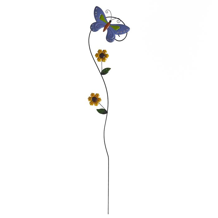 Опора для растений декоративная Village people Садовые бабочки, 77 см, цвет: синий. 64563_364563-3