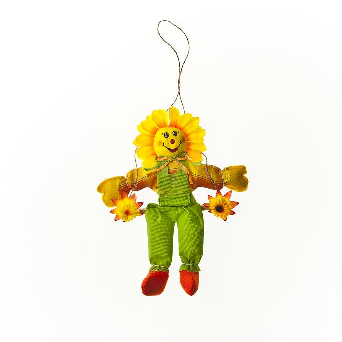 Подвесное украшение Village people Цветочный человечек, 24х2х46 см, цвет: желтый, зеленый. 6458164581