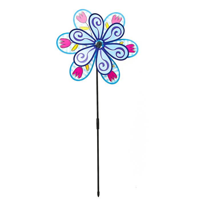 Декоративная фигура-вертушка Village people Цветок-ветродуй, цвет: синий. 6692866928