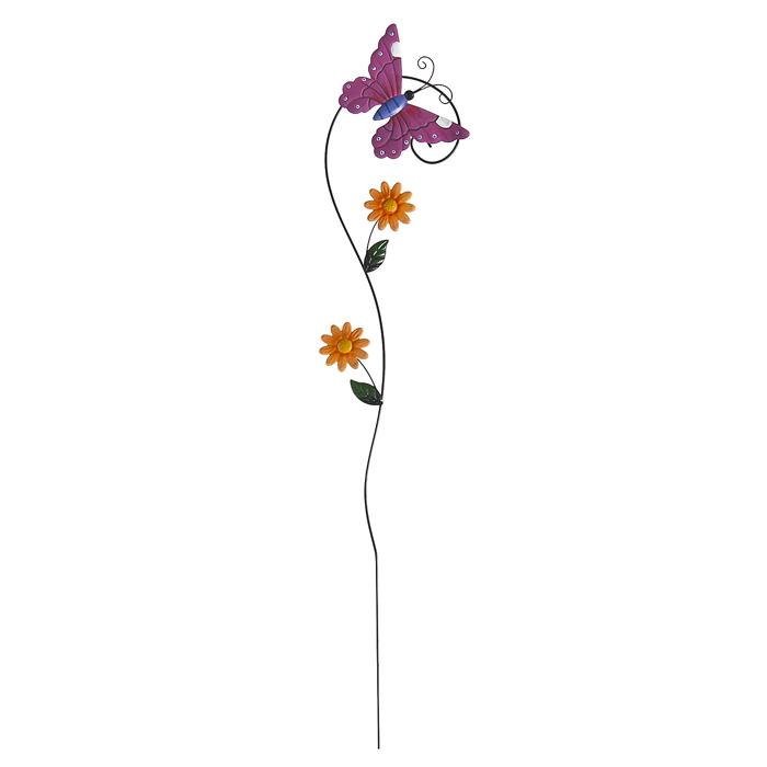 Опора для растений декоративная Village people Садовые бабочки, 77 см, цвет: фиолетовый. 64563_ 164563- 1
