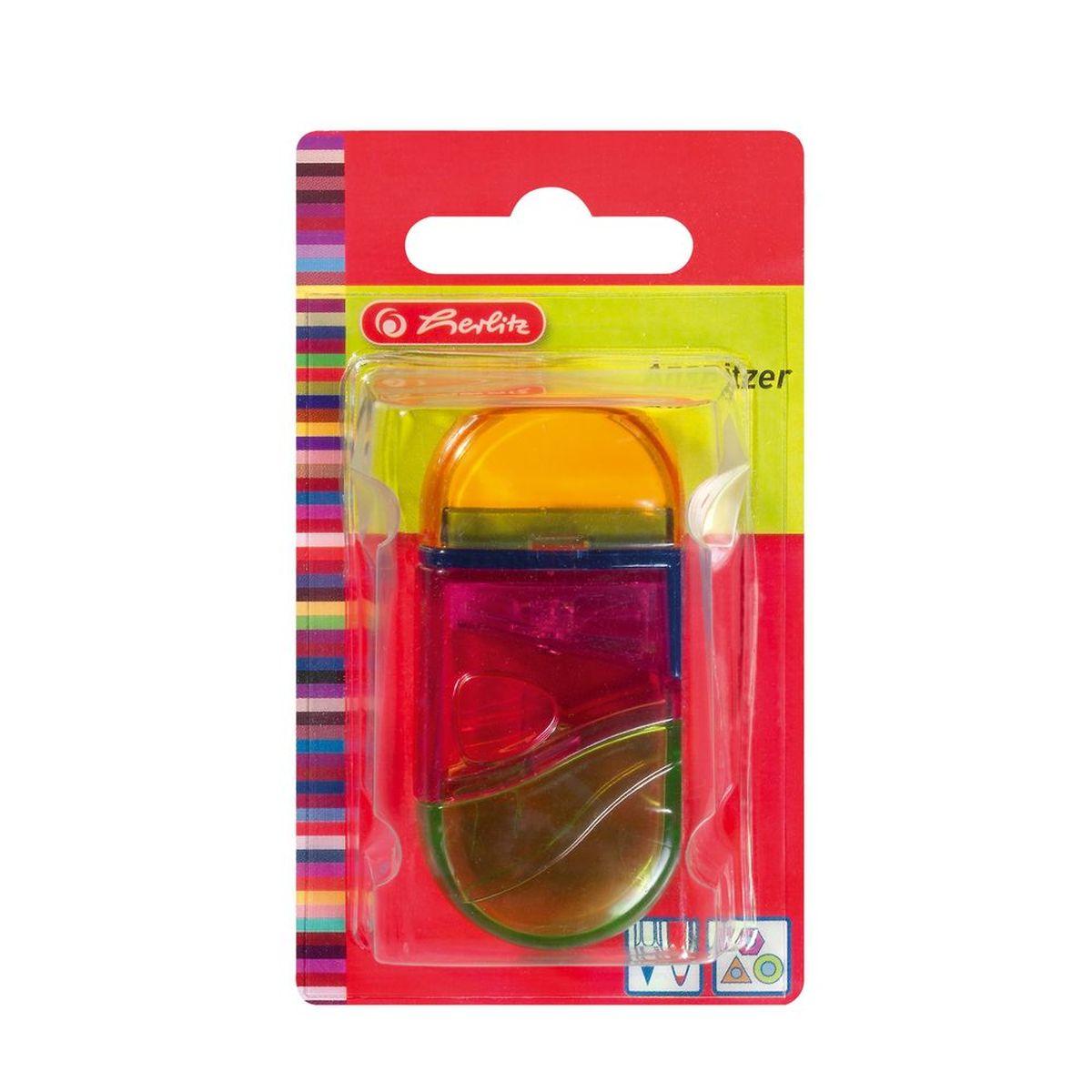 Herlitz Точилка с контейнером и ластиком цвет оранжевый розовый зеленый10198612Точилка Herlitz - качественная простая точилка с контейнером для стружек и ластиком. Выполнена в прозрачном пластиковом корпусе и предназначена для заточки карандашей диаметром 8 мм. Металлическое лезвие высокого качества быстро заточит любой карандаш. Ластик изготовлен из термопластичного каучука и хорошо стирает линии. Такой набор от Herlitz будет помощником для вас в любом проектном или учебном деле.