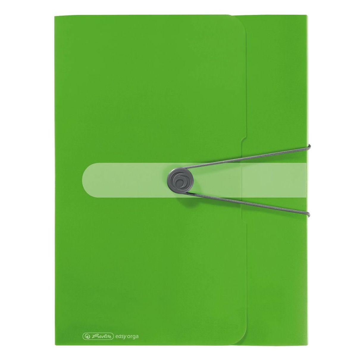 Herlitz Папка-конверт Easy orga to go цвет зеленый11206133Папка-конверт Herlitz Easy orga to go станет вашим верным помощником дома и в офисе. Это удобный и функциональный инструмент, предназначенный для хранения и транспортировки больших объемов рабочих бумаг и документов формата А4. Папка изготовлена из износостойкого пластика и качественного полипропилена. Состоит из одного вместительного отделения. Закрывается папка при помощи резинки, а на корешке папки есть ярлычок. Папка - это незаменимый атрибут для любого студента, школьника или офисного работника. Такая папка надежно сохранит ваши бумаги и сбережет их от повреждений, пыли и влаги.