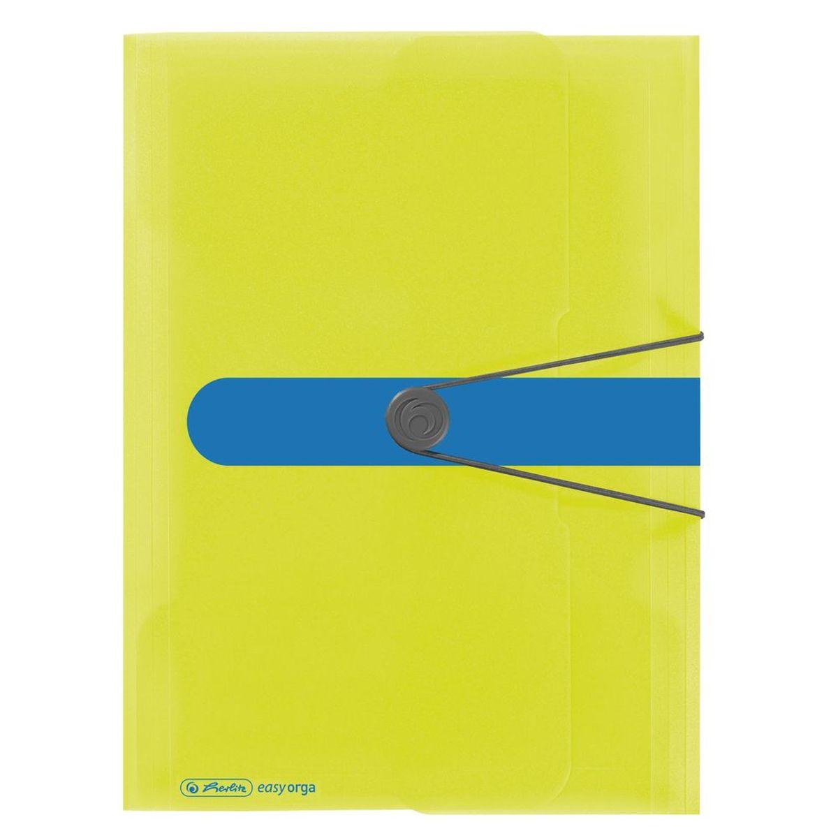Herlitz Папка Easy Orga цвет лимонный11365277Папка на резинке Herlitz Easy Orga с тремя клапанами станет вашим верным помощником дома и в офисе. Это удобный и функциональный инструмент, предназначенный для хранения и транспортировки больших объемов рабочих бумаг и документов формата А4. Папка изготовлена из износостойкого высококачественного пластика. Состоит из одного вместительного отделения. Закрывается папка при помощи резинки. Папка - это незаменимый атрибут для любого студента, школьника или офисного работника. Такая папка надежно сохранит ваши бумаги и сбережет их от повреждений, пыли и влаги.