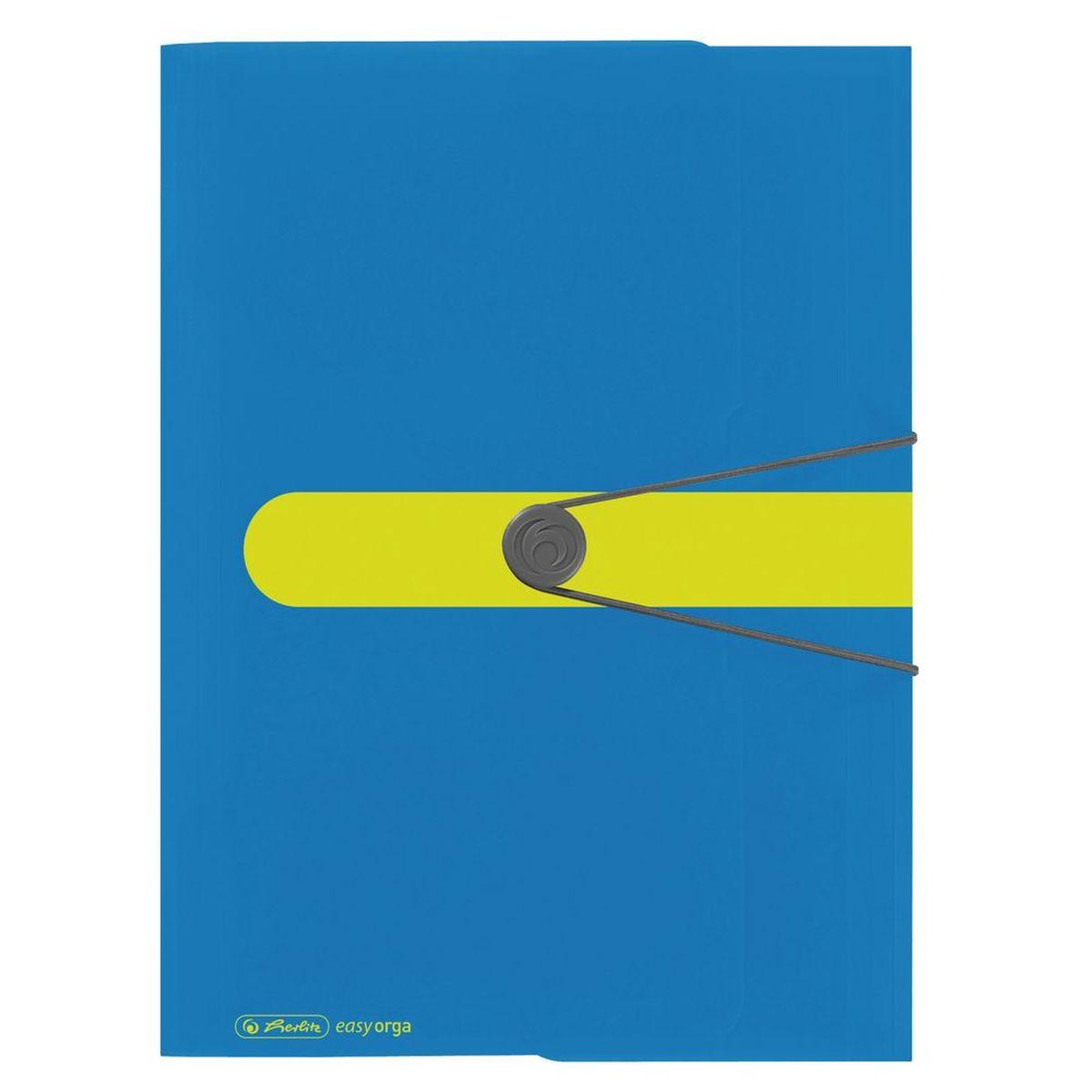 Herlitz Папка Easy Orga цвет синий желтый11365285Папка на резинке Herlitz Easy Orga с тремя клапанами станет вашим верным помощником дома и в офисе. Это удобный и функциональный инструмент, предназначенный для хранения и транспортировки больших объемов рабочих бумаг и документов формата А4. Папка изготовлена из износостойкого высококачественного пластика. Состоит из одного вместительного отделения. Закрывается папка при помощи резинки. Папка - это незаменимый атрибут для любого студента, школьника или офисного работника. Такая папка надежно сохранит ваши бумаги и сбережет их от повреждений, пыли и влаги.