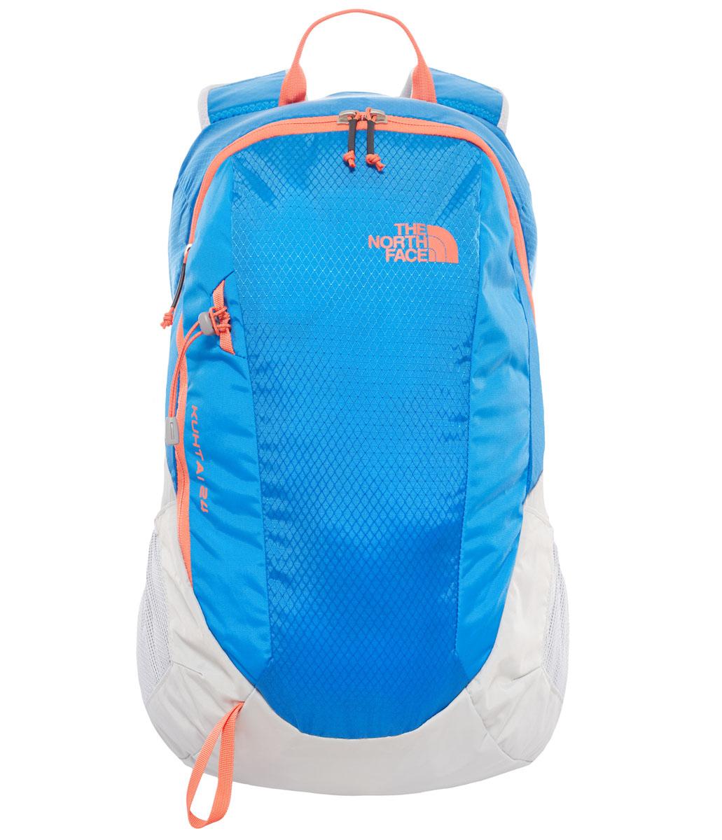 Рюкзак спортивный The North Face KUHTAI 24, 24 л, цвет: синий. T0CWU1EQNT0CWU1EQNKuhtai 24 - прекрасный вариант 24-литрового рюкзака для активных летних выходов, когда важен каждый грамм и нужна вентиляция спины. Сетчатая задняя панель NextVent™ позволяет спине высыхать во время интенсивных нагрузок, а дождевой чехол в комплекте сохранит важное содержимое сухим.