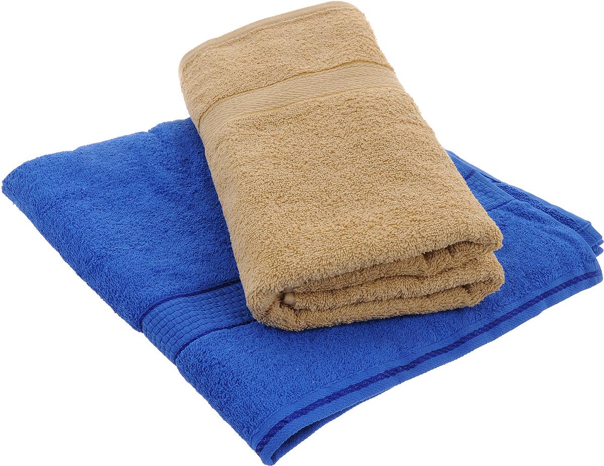 Набор махровых полотенец Aisha Home Textile, цвет: синий, бежевый, 70 х 140 см, 2 штУзТ-ПМ-104-03-19Набор Aisha Home Textile состоит из двух махровых полотенец, выполненных из натурального 100% хлопка. Изделия отлично впитывают влагу, быстро сохнут, сохраняют яркость цвета и не теряют формы даже после многократных стирок. Полотенца Aisha Home Textile очень практичны и неприхотливы в уходе. Комплектация: 2 шт.
