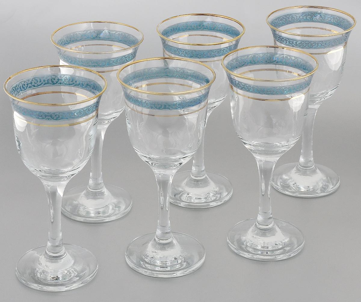 Набор фужеров Гусь-Хрустальный Махараджа, цвет: прозрачный, золотистый, синий, 240 мл, 6 штEL52-863CНабор Гусь-Хрустальный Махараджа состоит из 6 фужеров на изящных длинных ножках, изготовленных из высококачественного натрий-кальций-силикатного стекла. Изделия предназначены для подачи холодных напитков, вина и многого другого. Фужеры оформлены красивым зеркальным покрытием с матовым орнаментом. Такой набор прекрасно дополнит праздничный стол и станет желанным подарком в любом доме. Разрешается мыть в посудомоечной машине. Диаметр фужера (по верхнему краю): 8,5 см. Высота фужера: 18 см.