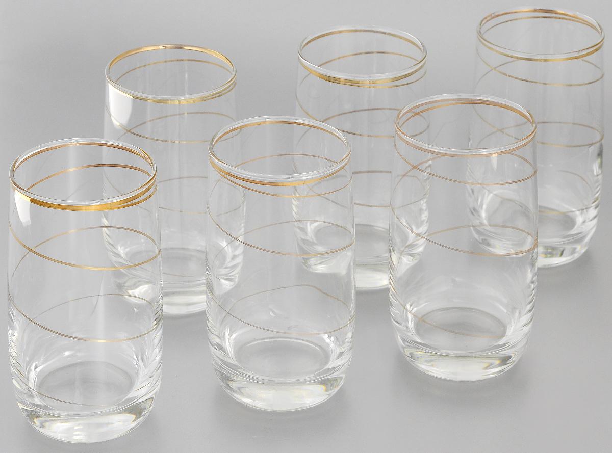 Набор стаканов для коктейлей Гусь-Хрустальный Змейка, 330 мл, 6 штD29-809Набор Гусь-Хрустальный Змейка состоит из 6 стаканов для коктейлей, изготовленных из высококачественного натрий-кальций-силикатного стекла. Изделия оформлены красивой зеркальной окантовкой и золотистым узором в виде изящной линии. Такой набор прекрасно дополнит праздничный стол и станет желанным подарком в любом доме. Разрешается мыть в посудомоечной машине. Диаметр стакана (по верхнему краю): 6 см. Высота стакана: 12,5 см.