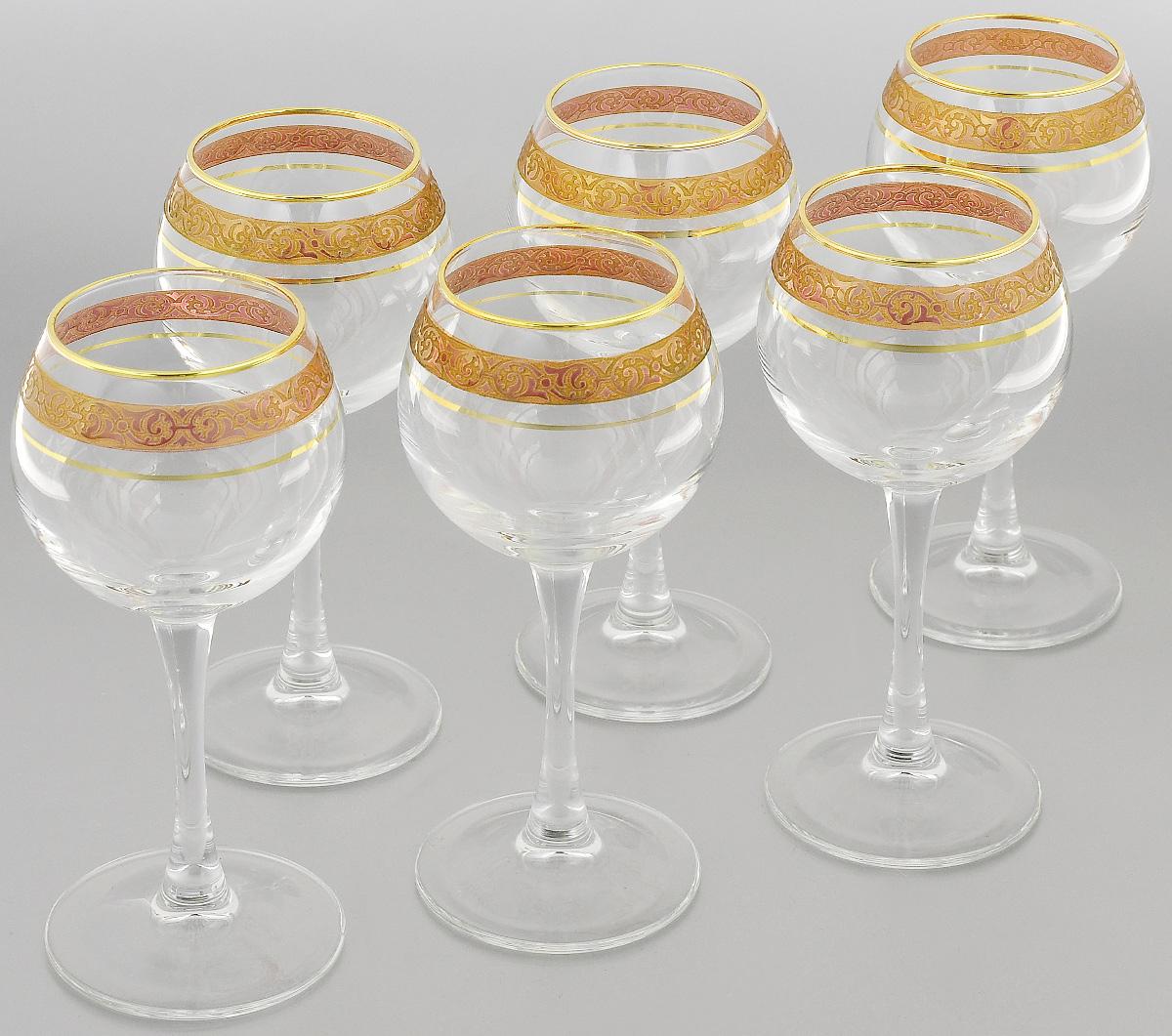 Набор фужеров Гусь-Хрустальный Махараджа, цвет: прозрачный, золотистый, розовый, 210 мл, 6 штEL52-1689КНабор Гусь-Хрустальный Махараджа состоит из 6 фужеров на изящных длинных ножках, изготовленных из высококачественного натрий-кальций-силикатного стекла. Изделия предназначены для подачи холодных напитков, вина и многого другого. Фужеры оформлены красивым зеркальным покрытием с матовым орнаментом. Такой набор прекрасно дополнит праздничный стол и станет желанным подарком в любом доме. Разрешается мыть в посудомоечной машине. Диаметр фужера (по верхнему краю): 5,5 см. Высота фужера: 17 см.