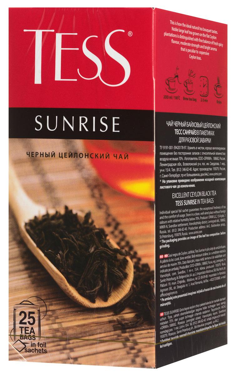 Tess Sunrise черный чай в пакетиках, 25 шт0937-10_новый дизайнЧерный байховый цейлонский чай Tess Sunrise отличается необыкновенно насыщенным ярким вкусом и тонким, очень приятным ароматом, свойственным цейлонским чаям.