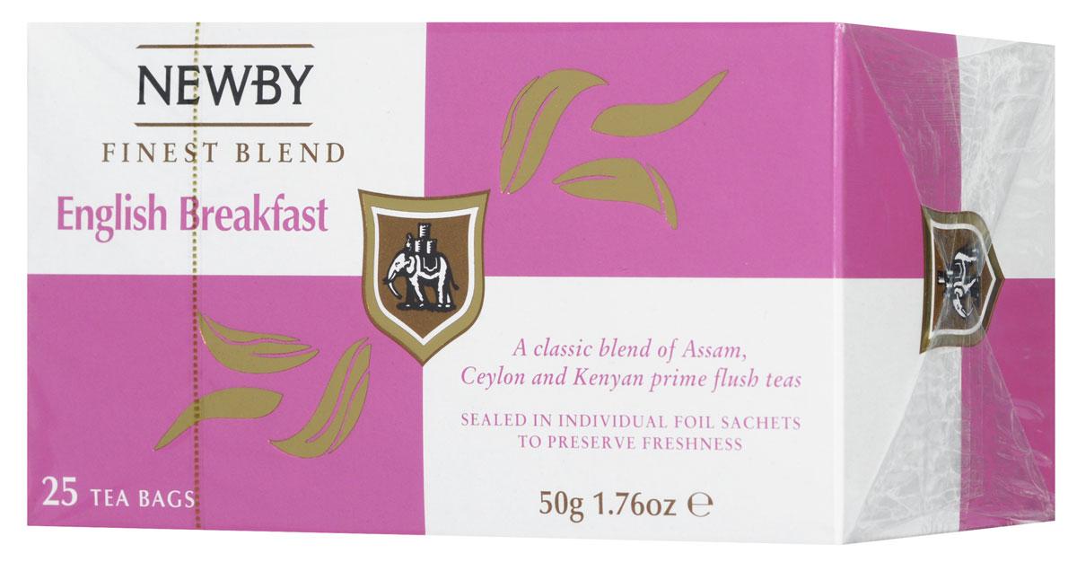 Newby English Breakfast черный чай в пакетиках, 25 шт310050Newby English Breakfast - традиционный купаж черных сортов чая из Ассама, Цейлона и Кении. Чашка насыщенного янтарного цвета и богатого вкуса с цитрусовыми нотками и пряным послевкусием идеальна для начала дня.