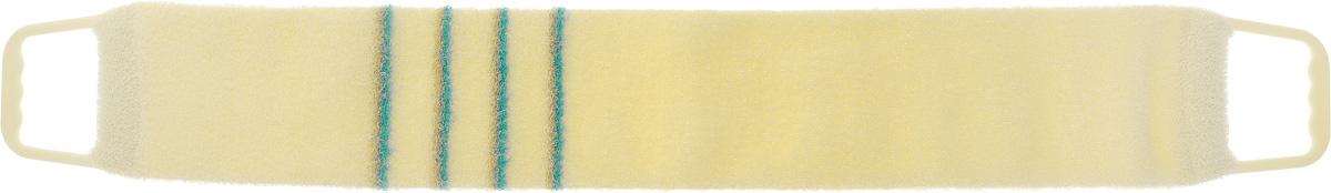 Мочалка-пояс массажная Riffi, жесткая, цвет: молочный, бирюзовый, 80 х 11 см