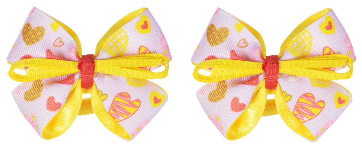 Babys Joy Резинка для волос цвет светло-розовый желтый 2 шт MN 164/2MN 164/2_светло-розовый, желтыйРезинка для волос Babys Joy выполнена в виде текстильного банта, украшенного узором с сердечками. Резинка позволит убрать непослушные волосы с лица и придаст образу немного романтичности и очарования. Резинка для волос Babys Joy подчеркнет уникальность вашей маленькой модницы и станет прекрасным дополнением к ее неповторимому стилю.