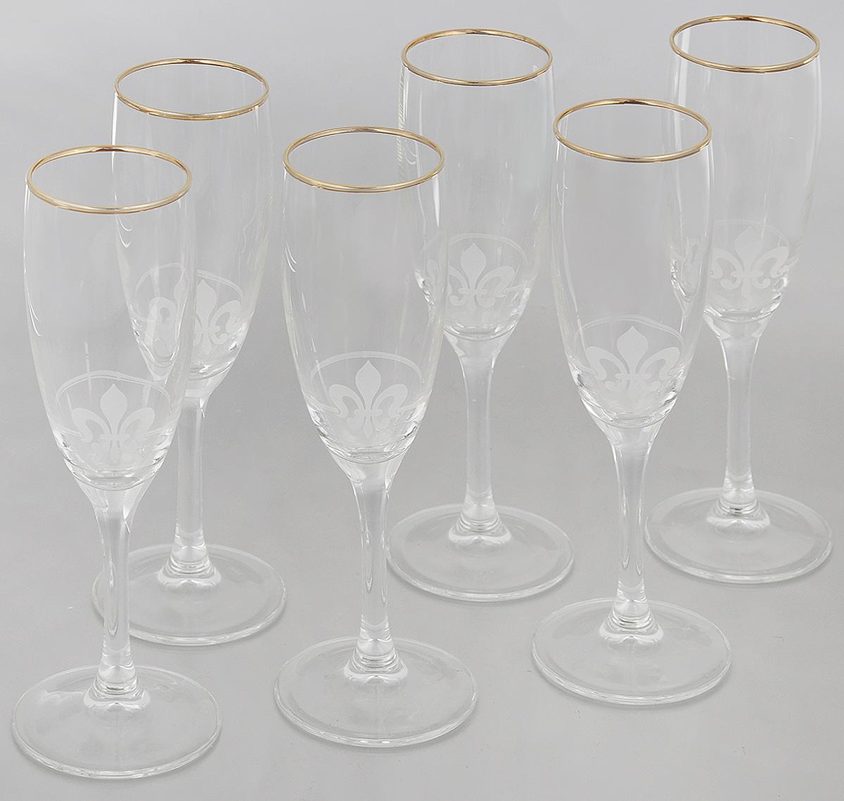 Набор бокалов Гусь-Хрустальный Королевская лилия, 170 мл, 6 штEL76-1687Набор Гусь-Хрустальный Королевская лилия состоит из 6 бокалов на длинных тонких ножках, изготовленных из высококачественного натрий-кальций-силикатного стекла. Изделия оформлены красивым зеркальной окантовкой и матовым узором. Бокалы предназначены для шампанского или вина. Такой набор прекрасно дополнит праздничный стол и станет желанным подарком в любом доме. Разрешается мыть в посудомоечной машине. Диаметр бокала (по верхнему краю): 5 см. Высота бокала: 20 см.