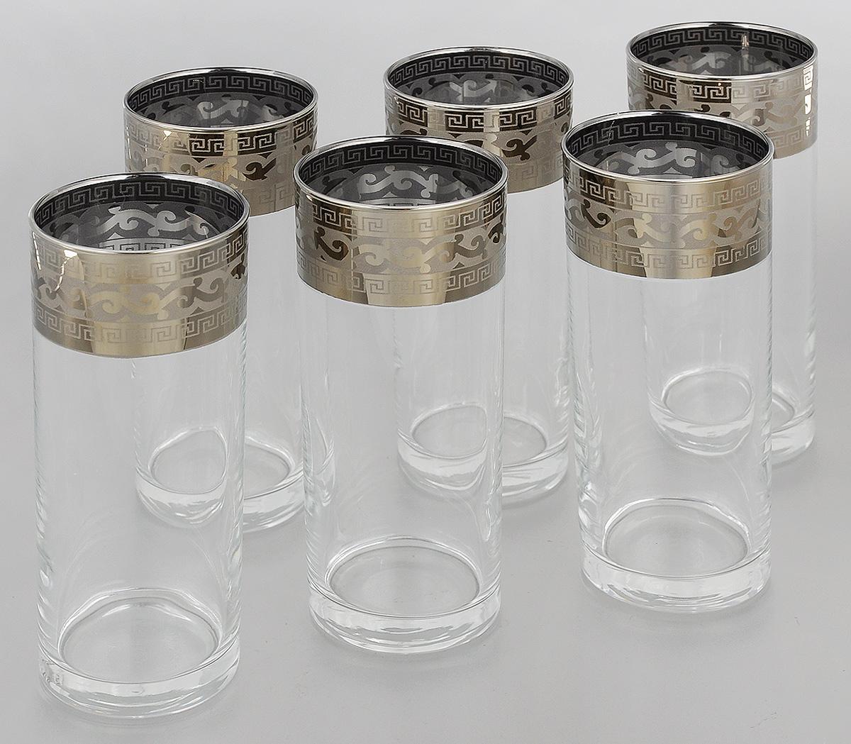Набор стаканов Гусь-Хрустальный Греческий узор, 350 мл, 6 штGE01-806Набор Гусь-Хрустальный Греческий узор состоит из 6 высоких стаканов, изготовленных из высококачественного натрий-кальций-силикатного стекла. Изделия оформлены красивым зеркальным покрытием и прозрачным орнаментом. Стаканы предназначены для подачи коктейлей, а также воды и сока. Такой набор прекрасно дополнит праздничный стол и станет желанным подарком в любом доме. Разрешается мыть в посудомоечной машине. Диаметр стакана (по верхнему краю): 6,2 см. Высота стакана: 15,5 см.