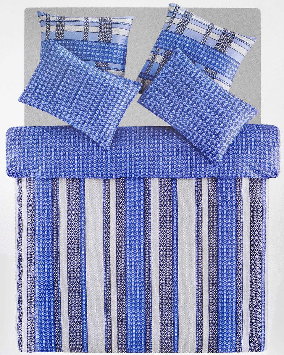 Комплект белья TAC Leiko, 2-спальный, наволочки 50х70, 70х70, цвет: голубой, синий, серый3909Роскошный комплект постельного белья TAC Leiko выполнен из качественного плотного сатина с использованием фирменного нанесения Pano. Комплект состоит из пододеяльника, простыни и четырех наволочек. Пододеяльник застегивается на пуговицы. Сатин – гладкая и прочная ткань, которая своим блеском, легкостью и гладкостью похожа на шелк, но выгодно отличается от него в цене. Сатин практически не мнется, поэтому его можно не гладить. Ко всему прочему, он весьма практичен, так как хорошо переносит множественные стирки. Доверьте заботу о качестве вашего сна высококачественному натуральному материалу.