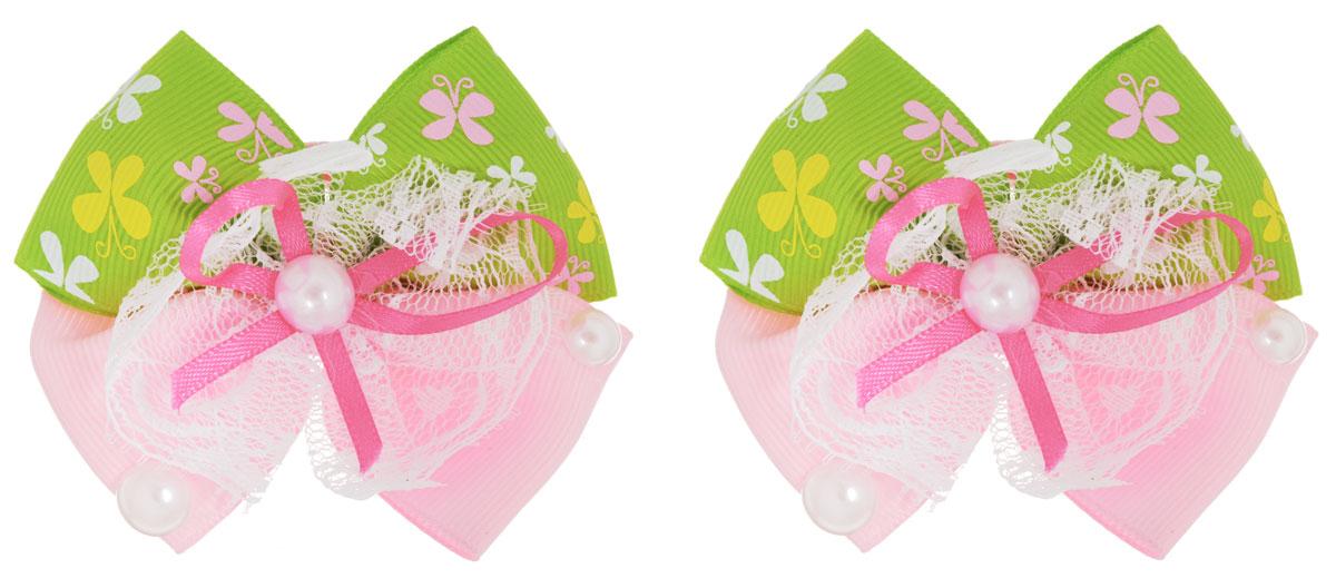 Babys Joy Резинка для волос цвет салатовый розовый 2 шт MN 133MN 133_салатовый, розовыйРезинка для волос Babys Joy выполнена в виде текстильного банта, сплетенного из двух лент, однотонной и с бабочками, и украшенного перламутровыми бусинами и кружевной лентой. Резинка позволит убрать непослушные волосы с лица и придаст образу немного романтичности и очарования. Резинка для волос Babys Joy подчеркнет уникальность вашей маленькой модницы и станет прекрасным дополнением к ее неповторимому стилю.