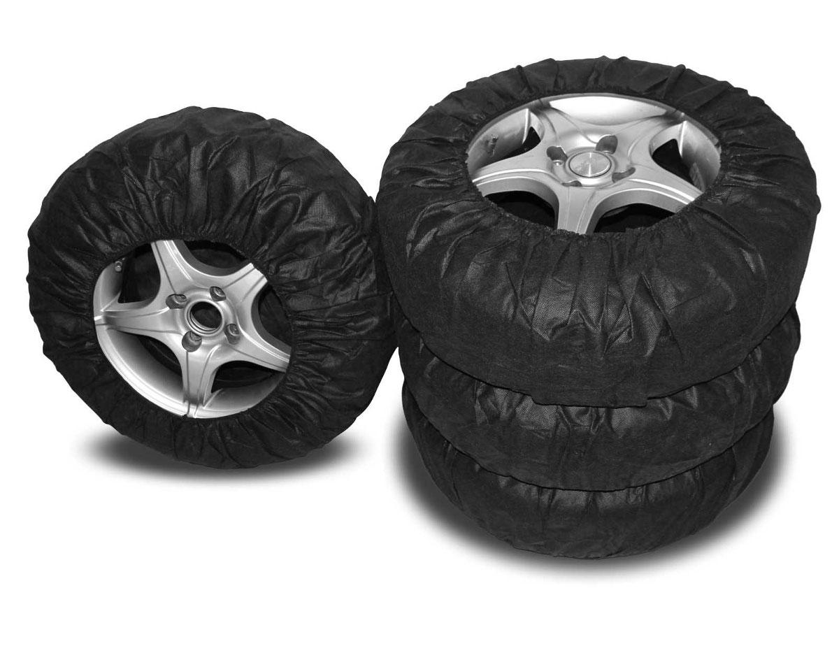 Чехлы для хранения автомобильных колес Masterprof, от 14 до 17, 4 штАС.050026Комплект многоразовых тканевых чехлов для колес. Предназначены для хранения и перевозки шин как с дисками так и без. Изготавливаются из высококачественной ткани. Подходят к шинам от 14 до 17, а именно: -14: 175/70, 175/80, 185/60, 185/65, 195/60, 195/65, 205/65 -15: 185/55, 185/60, 185/65, 195/50, 195/55, 195/60, 195/65, 195/70, 205/55, 205/65 -16: 195/50, 195/65, 205/55 -17: 225/45. Плотно облегают колесо, независимо от размера. Материал: спандонд. Цвет: черный.