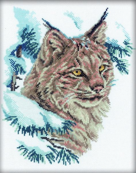 Набор для вышивания RTO Рысь, 23 см х 29 см. M067M067Мулине на карте, разобранное по цветам, канва, символьная схема, игла, инструкция