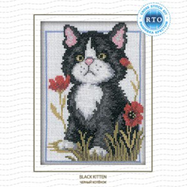 Набор для вышивания RTO Черный котенок, 12 см х 16 см. C057C057Мулине на карте, разобранное по цветам, канва, символьная схема, игла, инструкция