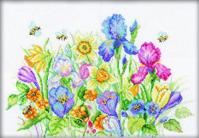 Набор для вышивания RTO Садовые цветы, 35 см х 25 см. M095M095Мулине на карте, разобранное по цветам, канва, символьная схема, игла, инструкция